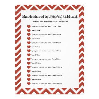 Bachelorette Party Red Scavenger Hunt Game Letterhead Template