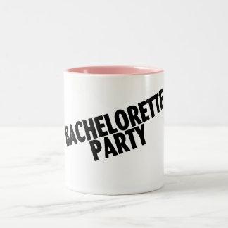 Bachelorette Party (Slanted Black) Two-Tone Coffee Mug