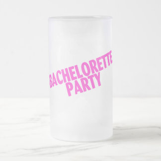 Bachelorette Party Slanted Pink Frosted Glass Mug