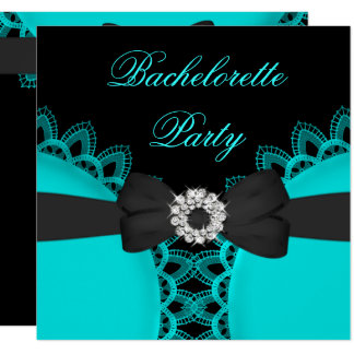 Bachelorette Party Teal Blue Black Lace Card