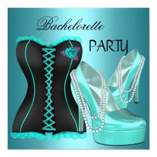 Bachelorette Party Teal Blue Hi heel Shoes Card