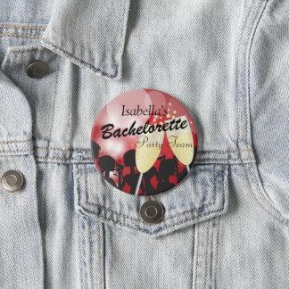 Bachelorette Party Team - Dark Red 3 Inch Round Button