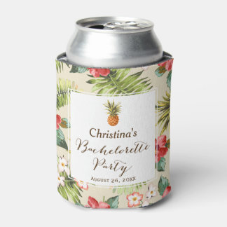Bachelorette Party - Tropical Leaves Pineapple Can Cooler