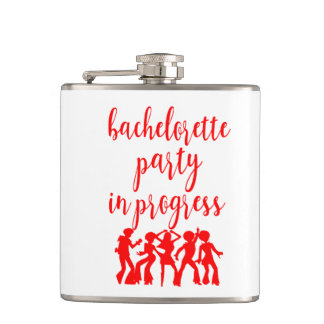 Bachelorette Party Vinyl Wrapped Flask Red