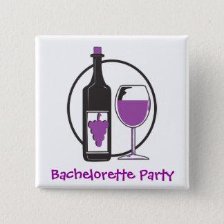 Bachelorette Red wine Party 2 Inch Square Button