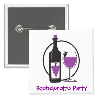 Bachelorette Red wine Party 2 Inch Square Button