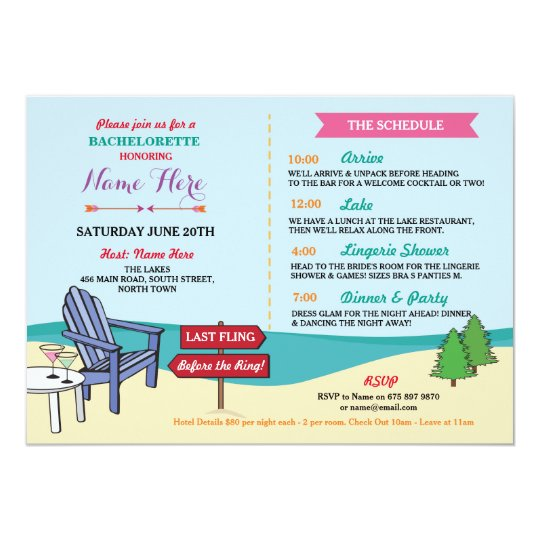 Bachelorette The Lakes Bridal Shower Itinerary Card