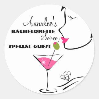 Bachlorette Martini Classic Round Sticker