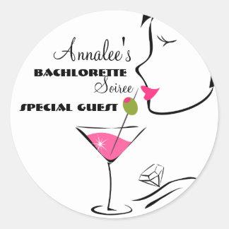 Bachlorette Martini Round Sticker