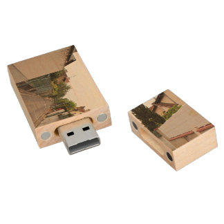 Back alley between houses wood USB 2.0 flash drive