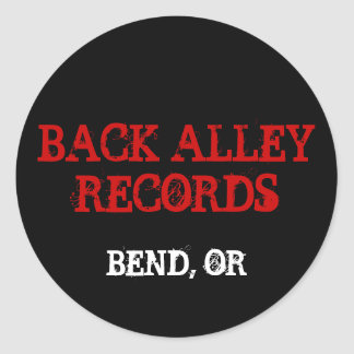 BACK ALLEY RECORDS, BEND, OR ROUND STICKER
