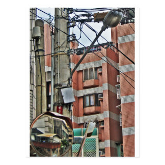 Back Alley Reflections in Taichung Taiwan Postcard