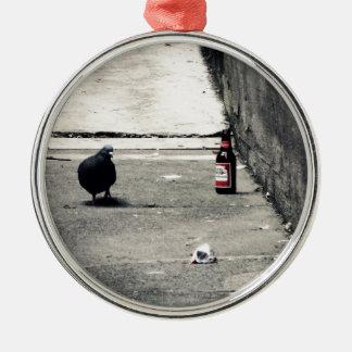 Back Alley Silver-Colored Round Ornament