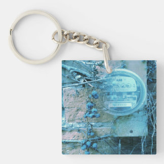 Back alley view digital art Single-Sided square acrylic keychain