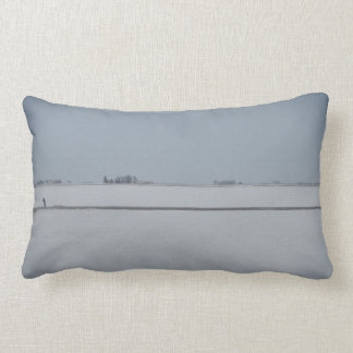 Back and White  Fog and Snow on the Prairies Lumbar Pillow