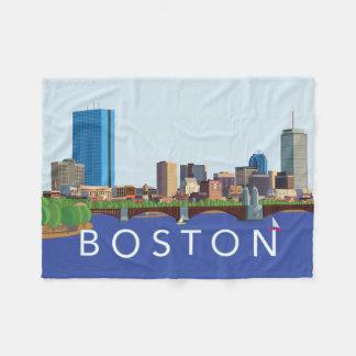 Back Bay Boston Skyline Computer Illustration Fleece Blanket