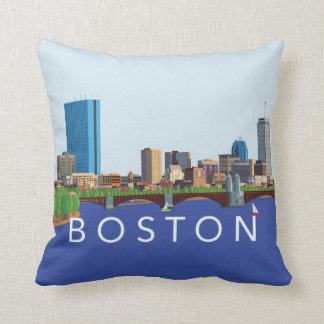 Back Bay Boston Skyline Computer Illustration Throw Pillow
