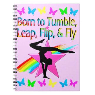 BACK FLIPPING GYMNASTICS GIRL RAINBOW DESIGN NOTEBOOKS
