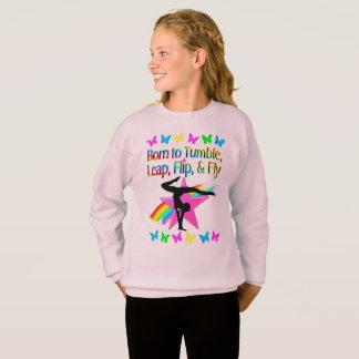 BACK FLIPPING GYMNASTICS GIRL RAINBOW DESIGN SWEATSHIRT