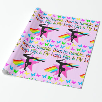 BACK FLIPPING GYMNASTICS GIRL RAINBOW DESIGN WRAPPING PAPER