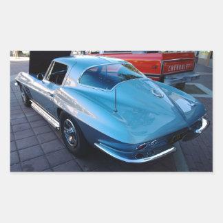 Back of a Classic Sky Blue Chevy Stingray Corvette