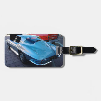 Back of a Classic Sky Blue Chevy Stingray Corvette Luggage Tag