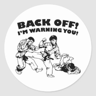 Back Off Round Sticker
