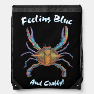back pack blue crab drawstring bag
