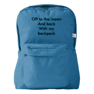 Back pack with the message: off to the moon and ba backpack