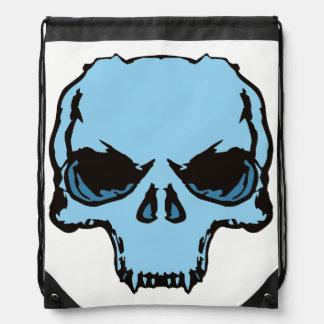 back pocket Blue Skull Drawstring Bag