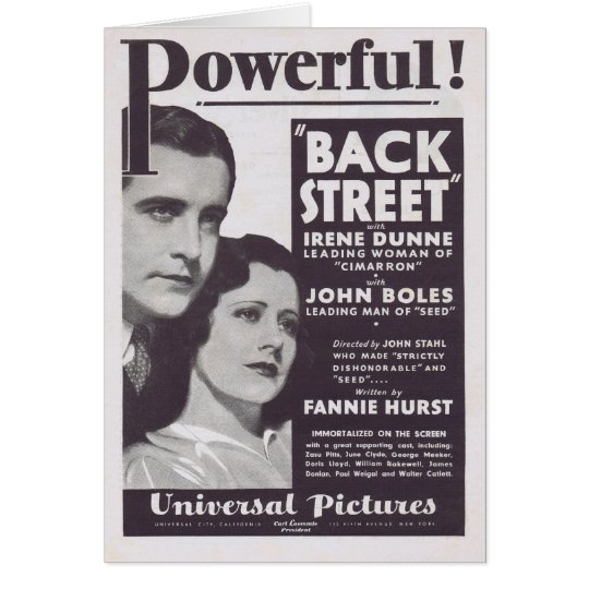 Back Street 1932 Irene Dunne movie ad Card