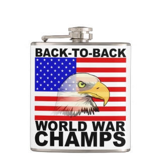 Back To Back World War Champs Hip Flask