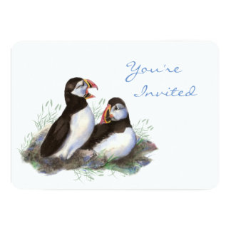 Back to Nature Puffin Bird Birthday Party Card