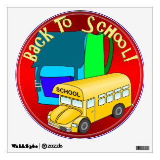 Back To School Bus & Blue Backpack Wall Sticker