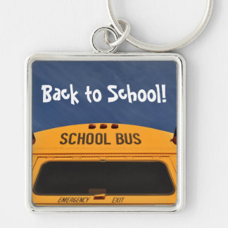 Back to School Bus Silver-Colored Square Keychain