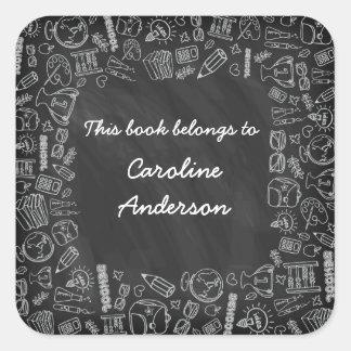 Back-to-School Chalkboard Bookplate Sticker