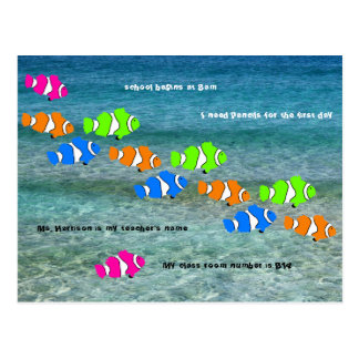 Back to School Clown Fish Welcome Postcard
