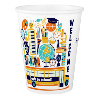 Back to School custom text paper cups