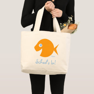 Back To School Cute Blue-Eyed Goldfish Teacher Large Tote Bag