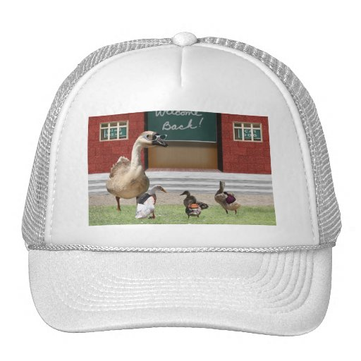 Back to School Ducks with Backpacks Hats