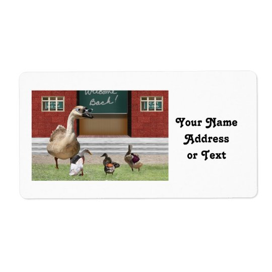 Back to School Ducks with Backpacks Shipping Label