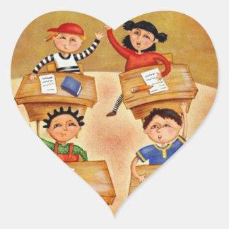 Back to school - heart sticker