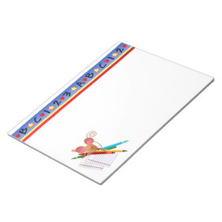 Back to School Mouse with Paper and Pencils Notepad