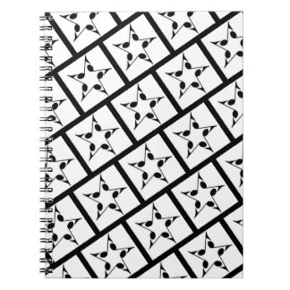 Back To School Notebook w/Stars/Notes Blk/Wht