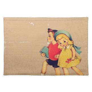 back to school retro pattern Kitsch Vintage Kids Place Mat