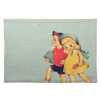 back to school retro pattern Kitsch Vintage Kids Placemat