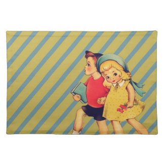 back to school retro stripes Kitsch Vintage Kids Placemats