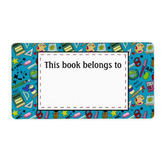 Back To School Supplies Doodle Art Shipping Label