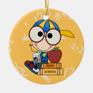Back To School Supplies Round Ceramic Ornament