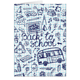 Back to School Supplies. Sketchy Notebook decor Card